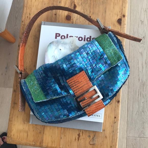fdc2eb536e09 Fendi Handbags - FENDI Lizard Trim Sequin Baguette
